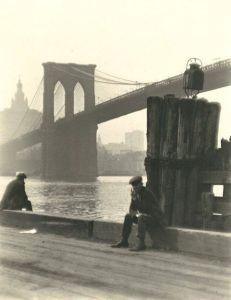 The piers under the Brooklyn Bridge.