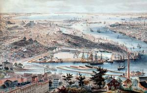 """A color drawing from 1855 looking west toward Brooklyn's Navy Yard. Just beyond it in the area that looks shaded was """"Irishtown."""" The New York Times described it in an 1866 editorial thusly, """"Here homeless and vagabond children, ragged and dirty, wander about."""""""