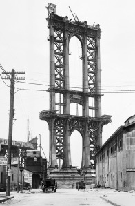 "Manhattan Bridge under construction over Brooklyn's ""Irishtown"" where the White Hand Gang had its headquarters"