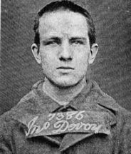 John Devoy in a mug shot in the 1870s while a young man, before being sent banished to Australia.
